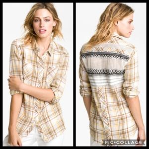 Free People Plaid Aztec Crochet Button Down Shirt